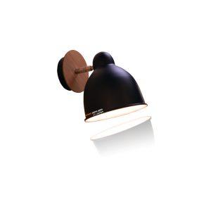 מנורת קיר שחור + עץ